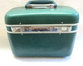 EchoLac Cosmetic Carry on Travel Cosmetic Train Case Teal Aqua Blue Green Small Suitcase