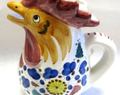 Italian Pottery Pitcher Rooster Chicken Hen Signed Dervta