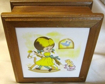 Little Girl Rocking Horse1970s Wooden Tile top Jewelry Box