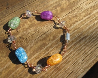 Rock Candy Glass Wire Wrapped in Copper Bracelet