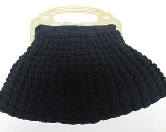 Antique Crochet Knit Clutch With Intricate Peacock Bakelite Handle