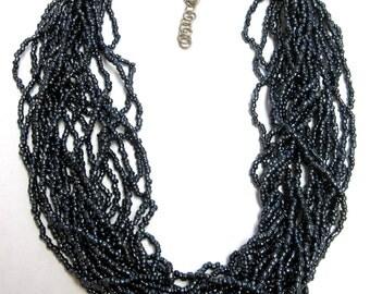Charcoal Black Necklace Tiered Bib Choker