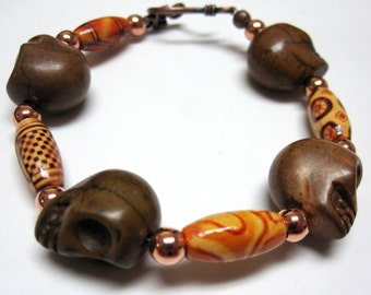 Day Of The Dead Bracelet Sugar Skull Strand Chocolate Brown Natural Tribal Copper
