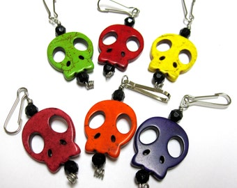 Day of The Dead Set of 6 Sliced Skull Sugar Skull Pendants Zipper Pulls Keychains Charms Party Favors