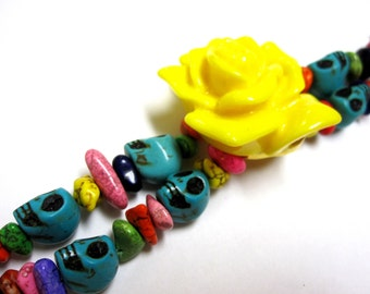 Sugar Skull Bracelet Day Of The Dead 2 Strand Blue Pink Yellow Rose