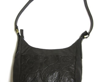 Brown Leather Purse Tooled Shoulderbag Handbag Chocolate Dark Hush Puppies