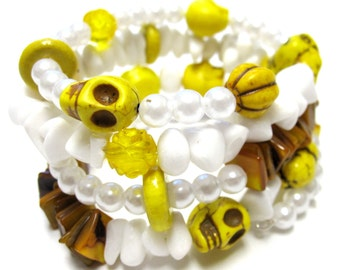 Sugar Skull Bracelet Day of the Dead Stone Shell Yellow Brown White