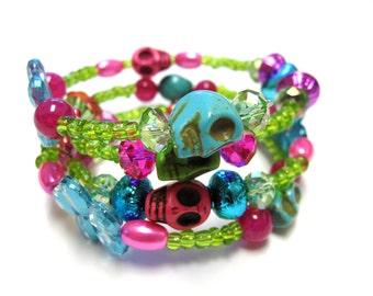 Day Of The Dead Sugar Skull Bracelet Blue Green Pink