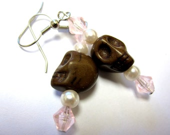 Sugar Skull Earrings Day Of The Dead Pink Brown