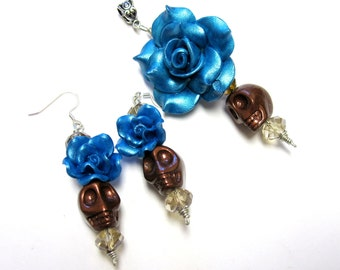 Sugar Skull Earrings Necklace Pendant Set Day Of The Dead Blue Brown Rose Gift Set