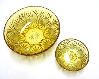 Amber Glass Bowls Set of 2 Serving Dish Candy Nut Chip Dip