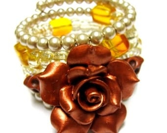 Copper Sugar Skull Bracelet Day Of The Dead Wrap Cuff Rose Brown Champagne Amber