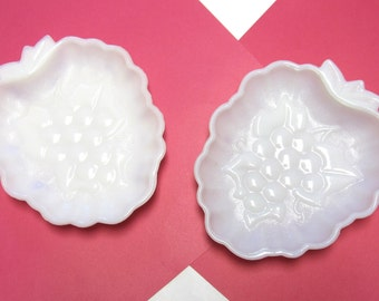 Milkglass White Dish Bowl Set of Two Hazel Atlas 1950s Grape Pattern Candy Nuts Serving