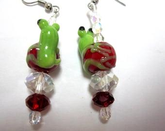 Frog Earrings Green Lampwork Crystals