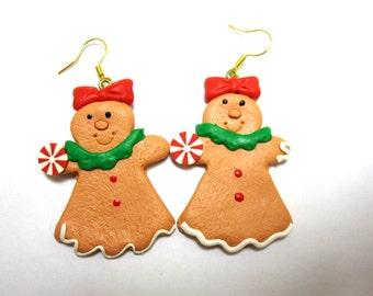 Gingerbread Girls Earrings Holiday Joy Christmas Jewelry