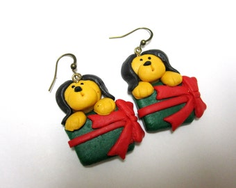 Puppies Presents Dog Earrings Holiday Christmas Winter