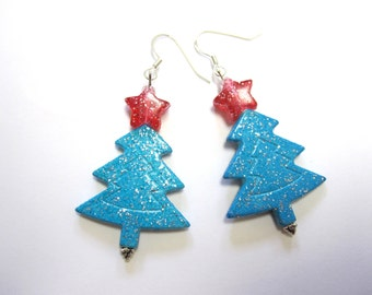 Christmas Tree Earrings Blue Red Holiday Jewelry