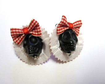 Sugar Skull Earrings Day of the Dead Black Red Hat Bow