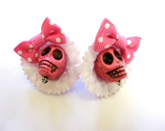 Sugar Skull Earrings Day Of The Dead Polka Dot Pink White Hat Bow