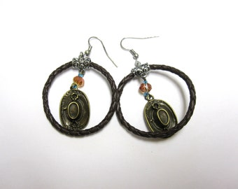 Cowboy Hat Dangle Earrings Aged Bronze