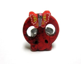 Sugar Skull Ring Day Of The Dead Red Butterfly