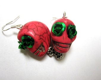 Sugar Skull Earrings Day Of The Dead Rose Pink Green