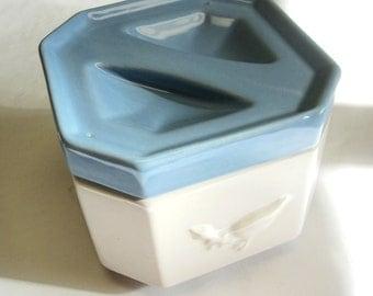 Blue White Canister Goose Cookie Jar Sugar Bowl