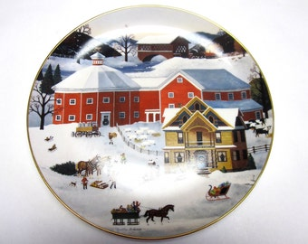 Christmas On The Farm Martha B Leone Collectors Plate Decorative Wall Hanging Horse