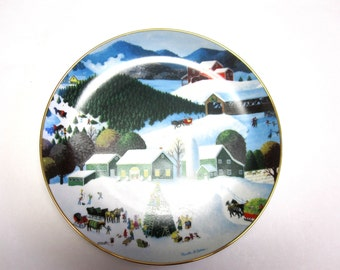 Trimming The Tree Martha B Leone Collectors Plate Decorative Wall Hanging Holiday Decor Christmas