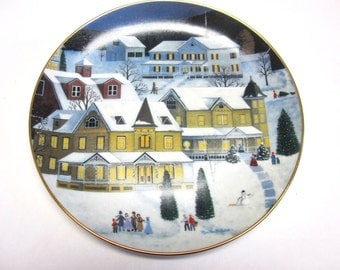 Christmas Eve Martha B Leone Collectors Plate Decorative Wall Hanging Holiday Decor