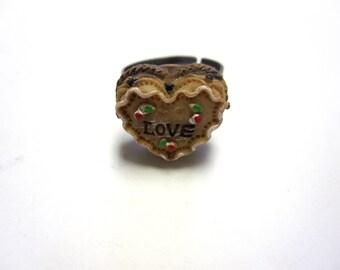 Sweet Chocolate Cake LOVE Ring - Adjustable