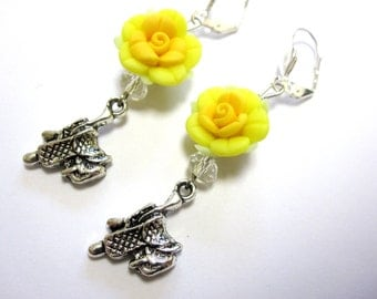 Yellow Roses Saddle Western Earrings
