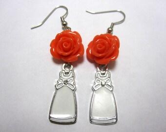 Bridal Earrings Bride Dress Orange Tangerine Rose Earrings