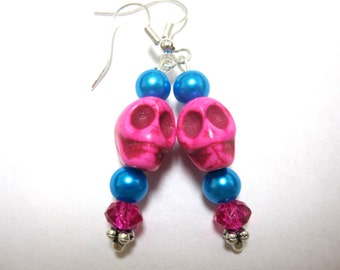 Hot Pink Baby Sugar Skull Earrings Day of the Dead Jewelry Gothic Earrings