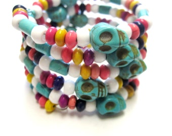 Day Of The Dead Bracelet Sugar Skull Wrap Around Cuff Turquoise Blue White Pink Yellow