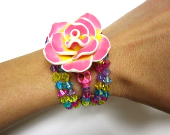 Day of the Dead Bracelet Sugar Skull RoseYellow Pink Blue