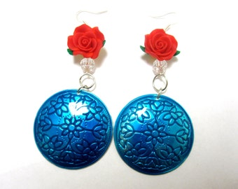 Turquoise Blue Earrings Red Rose Flower Dangle Enamel