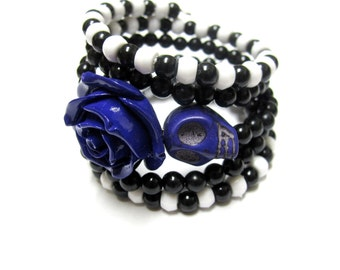 Day of the Dead Bracelet Sugar Skull Wrap Around Cuff Purple Black White