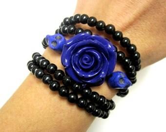 Sugar Skull Bracelet Day Of The Dead Jewelry Purple Black Rose