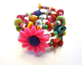 Day of the Dead Bracelet Sugar Skull Wrap Around Cuff Hot Pink Daisy Green White Blue