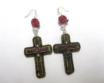 Dusty Rose Cross Earrings Western Jewelry