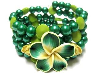 Sugar Skull Bracelet Day Of The Dead Green Yellow Hibiscus Flower