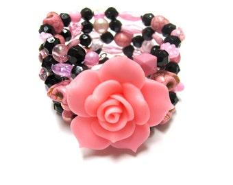 Day of the Dead Bracelet Sugar Skull Wrap Jewelry Black Pink