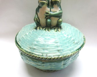 Mexican Tureen Serving Bowl Frog Green Soup