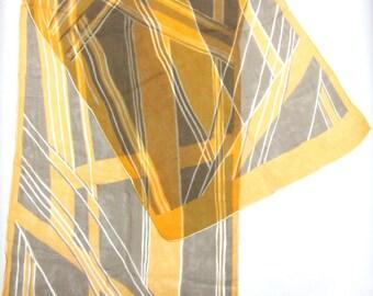 Brown Orange White Scarf Head Wrap Hair Accessory Band Tie