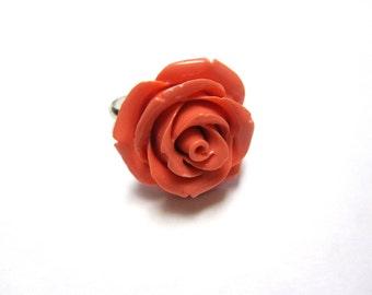 Coral Orange Rose Ring Adjustable