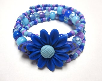 Sugar Skull Bracelet Day Of The Dead Blue Purple Flower