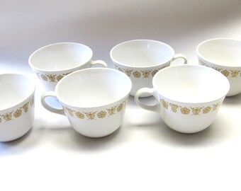 Corelle Ware Butterfly Gold Coffee Tea Set Of Six Mug Cup White