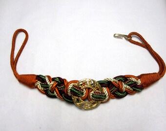 Wide Braided Cinch Belt Twist Gold Rust Orange Olive Green