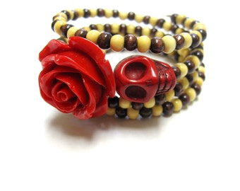Red Rose Sugar Skull Bracelet Day of the Dead Cuff Brown Cream Wrap